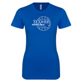 Next Level Ladies SoftStyle Junior Fitted Royal Tee-Water Polo Design