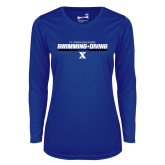 Ladies Syntrel Performance Royal Longsleeve Shirt-Swimming and Diving Stencil