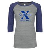 ENZA Ladies Athletic Heather/Blue Vintage Baseball Tee-Football