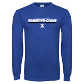 Royal Long Sleeve T Shirt-Swimming and Diving Stencil