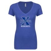 Next Level Ladies Vintage Royal Tri Blend V Neck Tee-Baseball