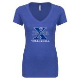 Next Level Ladies Vintage Royal Tri Blend V Neck Tee-Volleyball