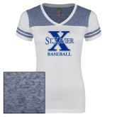 Ladies White/Heathered Royal Juniors Varsity V Neck Tee-Baseball
