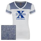 Ladies White/Heathered Royal Juniors Varsity V Neck Tee-Football