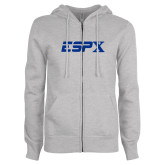 ENZA Ladies Grey Fleece Full Zip Hoodie-ESPX