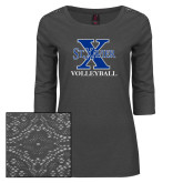 Ladies Charcoal Heather Lace 3/4 Sleeve Tee-Volleyball