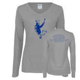 Ladies Grey Long Sleeve V Neck Tee-St Xavier Culinary Club Chef Front
