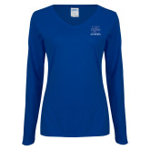 Ladies Royal Long Sleeve V Neck T Shirt-Ice Hockey