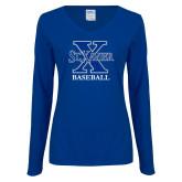 Ladies Royal Long Sleeve V Neck T Shirt-Baseball