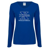 Ladies Royal Long Sleeve V Neck T Shirt-Volleyball
