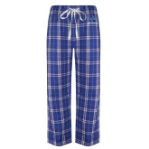 Royal/White Flannel Pajama Pant-Men In Black