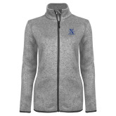 Grey Heather Ladies Fleece Jacket-Ice Hockey