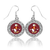 Crystal Studded Round Pendant Silver Dangle Earrings-Sammy the Sea Gull