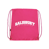 Pink Drawstring Backpack-Arched Salisbury University