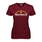 Ladies Maroon T Shirt-Sea Gulls Football Horizontal w/ Ball