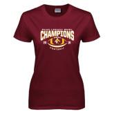 Ladies Maroon T Shirt-ECAC Legacy Bowl Champions Football 2016