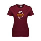 Ladies Maroon T Shirt-Tall Football Design