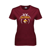 Ladies Maroon T Shirt-Graphics in Basketball