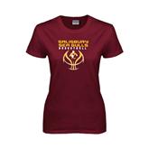 Ladies Maroon T Shirt-Graphics on Basketball