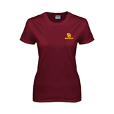 Ladies Maroon T Shirt-SU Sea Gulls