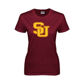 Ladies Maroon T Shirt-SU