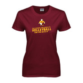 Ladies Maroon T Shirt-Can You Dig It