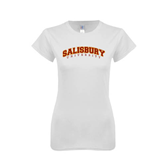 Next Level Ladies SoftStyle Junior Fitted White Tee-Arched Salisbury University
