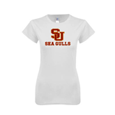 Next Level Ladies SoftStyle Junior Fitted White Tee-SU Sea Gulls