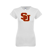 Next Level Ladies SoftStyle Junior Fitted White Tee-SU