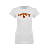 Next Level Ladies SoftStyle Junior Fitted White Tee-Football