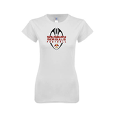 Next Level Ladies SoftStyle Junior Fitted White Tee-Tall Football Design