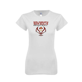 Next Level Ladies SoftStyle Junior Fitted White Tee-Graphics on Basketball