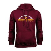 Maroon Fleece Hoodie-Flat Football Design