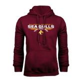 Maroon Fleece Hoodie-Sea Gulls Football Flat