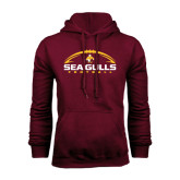 Maroon Fleece Hoodie-Sea Gulls Football Horizontal w/ Ball