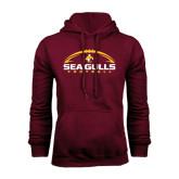 Maroon Fleece Hoodie-Sea Gulls Football Horizontal w/ Ball