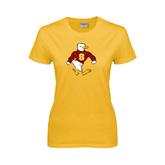 Ladies Gold T Shirt-Sammy the Sea Gull Distressed