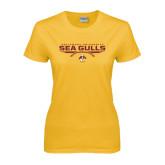 Ladies Gold T Shirt-Sea Gulls Football Flat