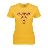 Ladies Gold T Shirt-Salisbury Football Stacked w/ Ball