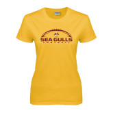 Ladies Gold T Shirt-Sea Gulls Football Horizontal w/ Ball