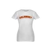Next Level Girls White Fashion Fit T Shirt-Arched Salisbury University