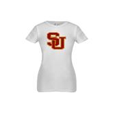 Next Level Girls White Fashion Fit T Shirt-SU