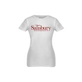 Next Level Girls White Fashion Fit T Shirt-Salisbury University