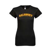 Next Level Ladies SoftStyle Junior Fitted Black Tee-Arched Salisbury University