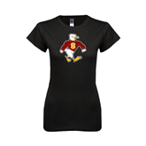 Next Level Ladies SoftStyle Junior Fitted Black Tee-Sammy the Sea Gull