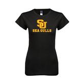 Next Level Ladies SoftStyle Junior Fitted Black Tee-SU Sea Gulls