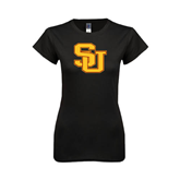 Next Level Ladies SoftStyle Junior Fitted Black Tee-SU