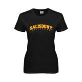 Ladies Black T Shirt-Arched Salisbury University