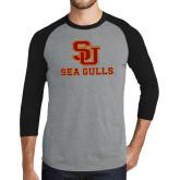 Grey/Black Tri Blend Baseball Raglan-SU Sea Gulls