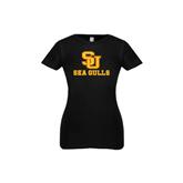 Next Level Girls Black Fashion Fit T Shirt-SU Sea Gulls